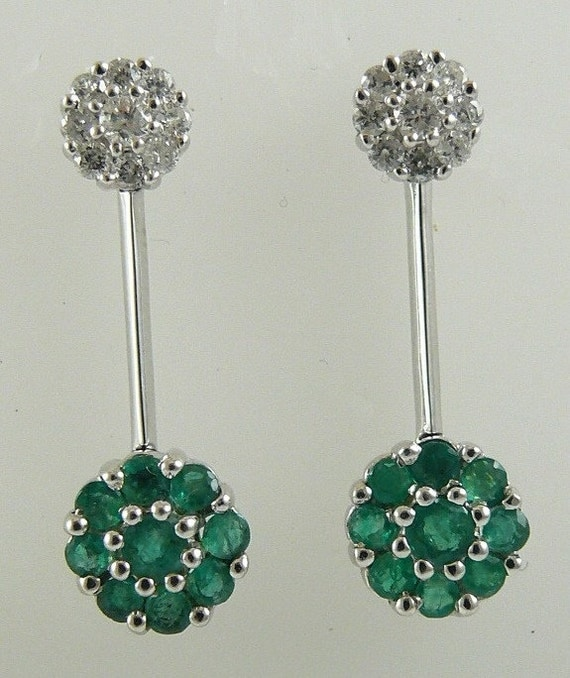 Emerald 0.63CT Earring 14k White Gold with Diamonds 0.37ct