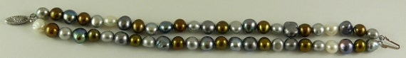 Freshwater Multi-Colored Pearl Bracelet 9.1mm -6.2mm 14k White Gold 7 1/2 inches