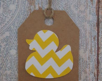 Baby Shower Tags, Baby Shower Gift Tags, Baby Duck Gift Tags. Thank You Tags, Yellow and White tags