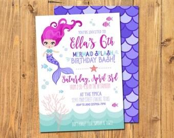 MERMAID BIRTHDAY INVITATION | Mermaid Splash Birthday Bash | Pool Party