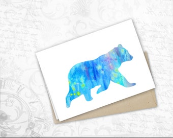 bear gift card Funny Birthday Friendship get well gift watercolor poster bear Painting Polar Bear Greeting Cards