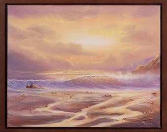 Beach Painting, Coastal Landscape, Ocean Waves Painting, Framed Art, Sea Painting, Ocean Art, Seascape, Fine Art, Oil Painting, Beach