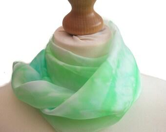 Green silk scarf, emerald green scarf, silk scarf, green scarf, silk anniversary gift, 12th anniversary, grandma gift, valentines gift