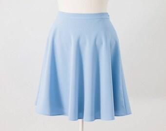 Circle Skirt, Blue Circle Skirt, Sky Blue Circle Skirt, High Waist Skirt, Half Circle Skirt, Summer Blue Skirt, Casual Skirt, Womens Skirt