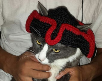 Crochet Pirate hat, Crochet hat, Black pirate hat, Pirate hat
