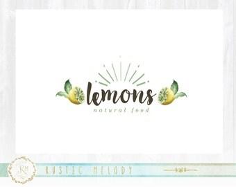Lemon Garden Logo, Lemon Design, Food Logo, Fruit Logo, Artisan Logo, Watercolor Logo, Stamp Logo
