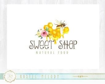 Bee Logo design, Food Logo, Organic Logo, Watercolor Logo, Honey Bee Logo, Honey Logo, watermark