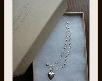 Puffed heart double chain double piercing earring