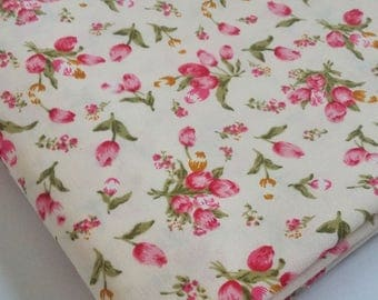 Pink and Yellow Tulip Flower Cotton Fabric