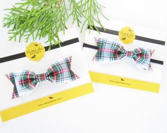 Christmas plaid bow or headband, Baby toddler girls plaid bow or headband, Holiday bow or headband, tartan plaid hair bow hair clip