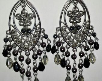 Sterling Silver 925 Black, Gray & Silver Beaded Drop Dangle Pierced Chandalier Earrings