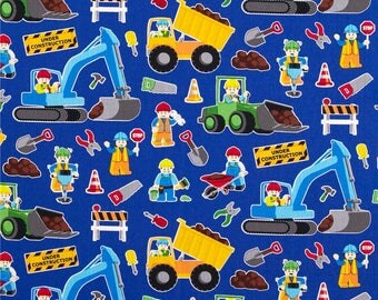 Construction Zone by Timeless Treasures, Construction Digger Fabric