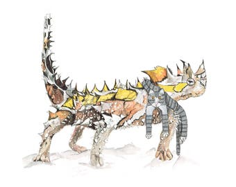 Thorny Devil with Cat Scarf illustration - Limited Edition Digital Art Print - A4