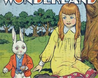 VINTAGE ALICE In WONDERLAND Rare Book Cover Illustration. Edwardian to Flapper Era Alice Printable. Digital Alice Download.