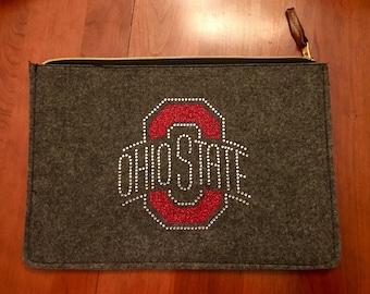 Ohio State (OSU) Zippered Pouch with OSU Glitter & Rhinestone Bling Design