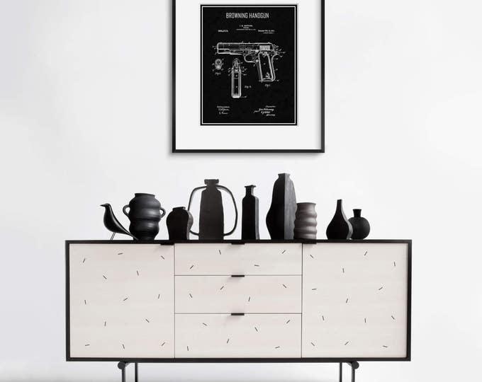 Vintage HANDGUN PATENT ART  Black or White Frame  Free Shipping