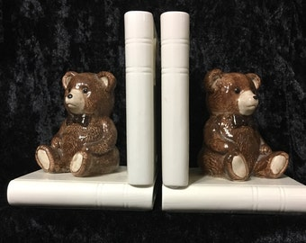 Ceramic Teddy Bear Bookends Hand-Crafted and Hand- Painted Otagiri Made in Japan.