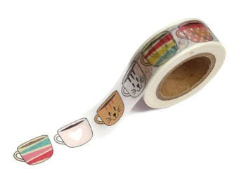 Cute Coffee Cups Tea Cups FacesWashi Tape Decor Masking Tape 10m