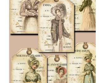 Jane Austen One- digital download - tags - labels - scrapbooking - crafts - Raspberry Hall