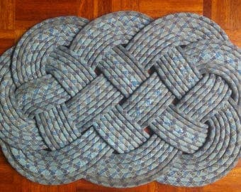 Upcycled Blue Climbing Rope Mat