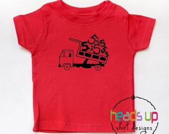 Five Birthday Tee Dump Truck - Toddler Boy/Girl 5th Birthday Shirt Dump Truck - Trendy Fifth Birthday tshirt Kids - Dump Truck t shirt 5th