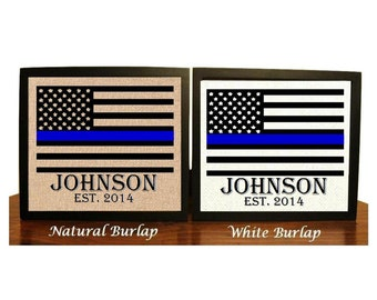 Police officer gift, Thin Blue Line Family Name Burlap Print, Police Officer Print, LEO, gift for police, American Flag, blue line, Police