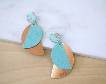 Blue earrings Copper Long earrings Statement earrings Dangle earrings Leather earrings Polymer clay jewelry Gift for women