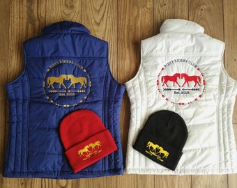 White XS riding vest. Embroidered PRC