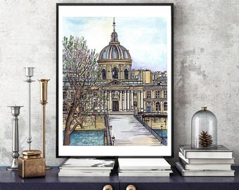 Paris watercolor, Watercolor painting, Paris drawing, Paris artwork, Paris illustration, France art, Paris art, fashion illustration