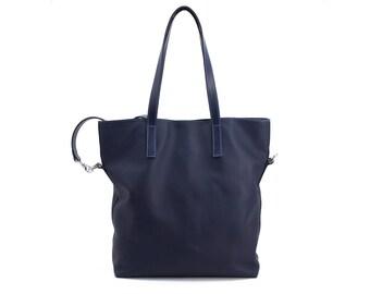 Leather Tote Bag, Crossbody Bag, Shoulder Bag with Long Handle - Blue Leather