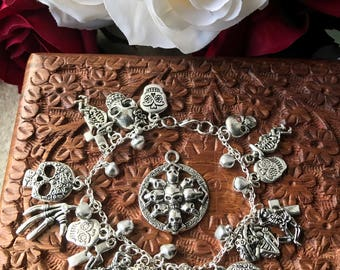 Day of the dead (Dia de los Muertos) charm bracelet