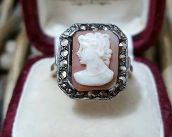 Vintage sterling silver cameo ring with marcasite, superb, size m/2