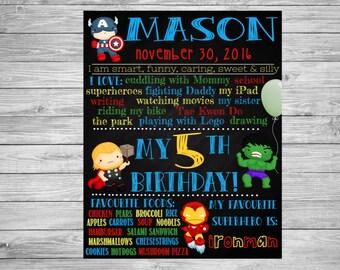 Birthday Chalkboard/Superhero Birthday/Superhero Theme/Superhero Party/Avengers Party/Avengers Theme/Avengers Birthday/Avengers Chalkboard