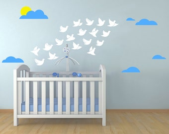 Birds-Clouds-Sun Wall decal, Flying birds wall sticker, Clouds and Birds Nursery wall Decal, kids Room Decor,Playroom decal,birds home decor