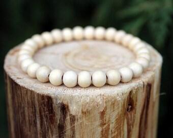 Natural White Wood Bead Bracelet, White wood Bracelet, Wood Bead Bracelet, Natural Wood Bead Bracelet, Bead Bracelet, Men's/Women's Bracelet