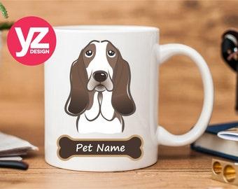 Basset Hound Mug | Personalized Pet's Name Mug | Dog Mug Cup | Dog Mug | Custom Pet Mug | Coffee Mug | Dog Lover Mug | Animal Mug | Basset