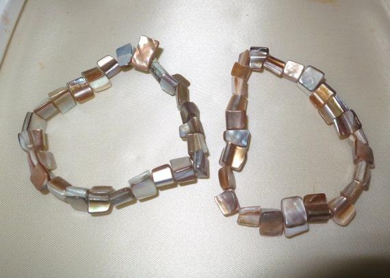 2 Vintage Mother of Pearl abalone stretch bracelets
