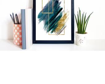 Print A4 Watercolour Geometric Shapes Abstract Wall Art/ Home Decor