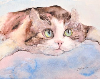 Cat No18 family water color