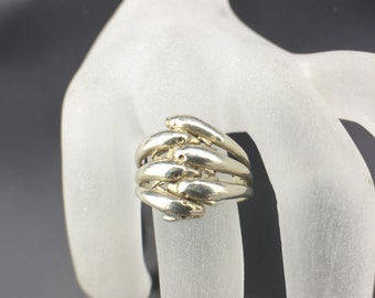Vintage Sterling Silver Ring 6 Dolphins Jumping Size 8