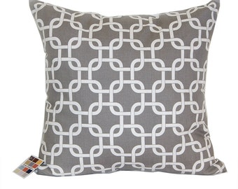 Gray Pillow Cover in Gotcha Pattern with Zipper Closure, Gray and White Cotton Pillow Cover with Geometric Print