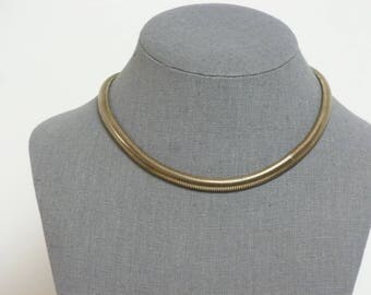 """Metal Ribbed Choker Necklace 16"""" 1950's Silver Toned"""