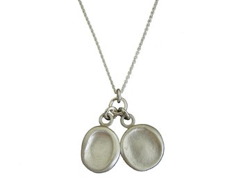 Silver Two Finger Prints or Thumb Prints Necklace
