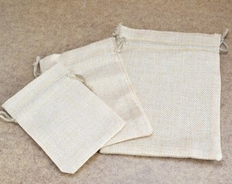 10 Drawstring Burlap Bags 3.25x4.5 in, 3.75x5.5 in, 7x5 inches. Packing Pouches Wedding Bracelet Pouch or any Gifts