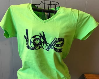 Sewing Love v-neck shirt quilters shirt
