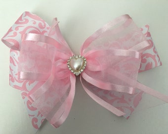 Dressy Valentine's Hair Bow Pink Valentine's Bow Pink Damask Bow with Pink Sheer Ribbon Valentine's Bow with Heart Pearl and Rhinestones