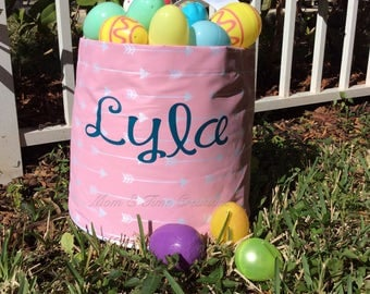 Personalized Easter egg Bucket, MULTIPLE COLORS/STYLES, monogrammed Easter egg bucket, Easter tote