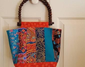 Handbag oriental fabric handmade