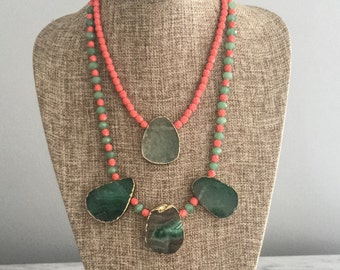 Double Strand Green Aggate Stone & Coral Faceted Glass Bead Bib Necklace, Statement, Boho, Chunky, Unique, Colorful