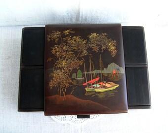 30%OFF Antique Wooden Jewelry Box 30s with Secret Compartment / Boudoir Necessaire Dressing Vanity Box / Asian Oriental Vietnam Lacquer Box
